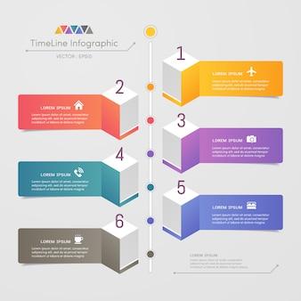 Timeline infografiken designvorlage mit symbolen