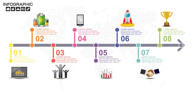 Timeline infografiken designvorlage