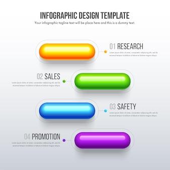 Timeline-infografiken entwerfen ein realistisches geschäftskonzept mit 4 optionen, schritten oder prozessen.