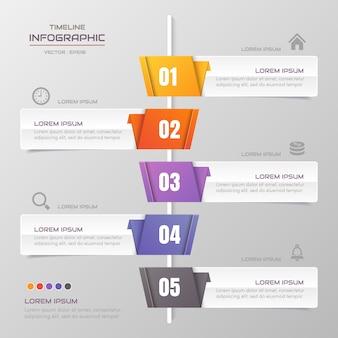Timeline infografiken entwurfsvorlage mit symbolen