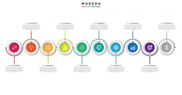Timeline infografiken vorlage mit kreisen