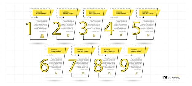 Timeline infographics vorlage mit 9 schritten