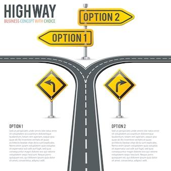 Timeline road infografiken mit wegweisern