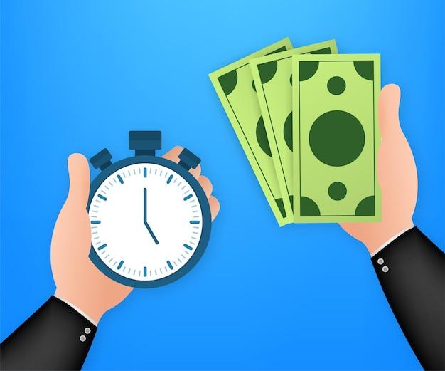 Timer-hand und geld. unternehmensführung. stoppuhr-symbol-vektor. schnelles geld. zeiteinteilung. vektorgrafik auf lager.