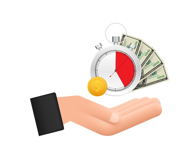 Timer und geld in händen uhr und tasche zeit ist geld schnelle kreditlaufzeit sparkonto