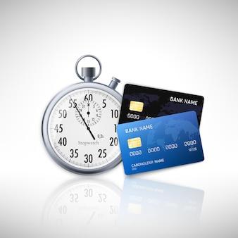 Timer und kreditkarte mit schatten