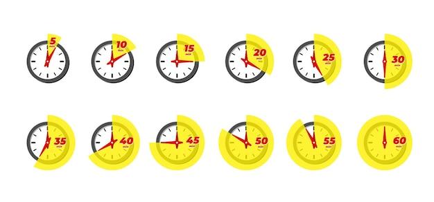 Timer und stoppuhr-icon-set. küchenkochen oder schnelle express-lieferzeitetiketten mit verschiedenen minuten. sportuhr oder frist-countdown-vektor isolierte illustration