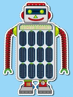 Times tabellen diagramm auf roboter spielzeug