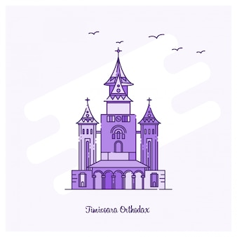 Timisoara orthodax landmark purple skyline von gepunkteten linien