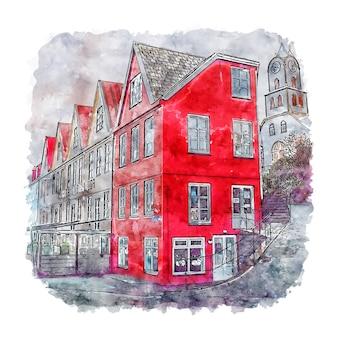 Tinganes dänemark aquarell skizze hand gezeichnete illustration