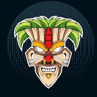 Tink-maske und aztekisches ägypten-illustrationskonzept premium-vektor