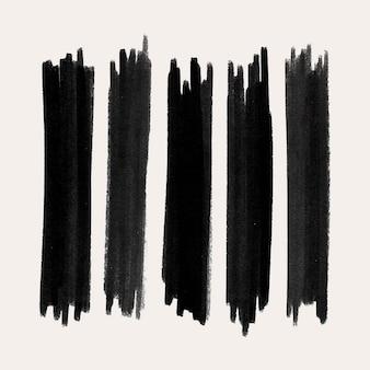 Tinte pinselstrich-element-vektor-set in schwarz