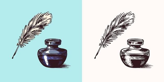 Tinte und feder und tintenfass in vintage-gravur-stil retro-vektor-illustration für holzschnitt oder