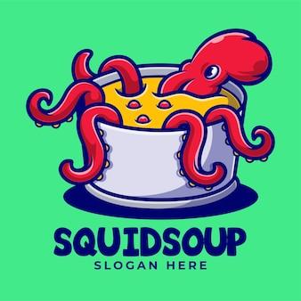 Tintenfisch auf eimer maskottchen cartoon logo vorlage