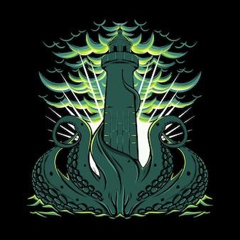 Tintenfisch, der den leuchtturm im meer mit wolken und wellen bedeckt