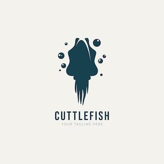 Tintenfisch logo vorlage vektor illustration design einfaches silhouette logo konzept