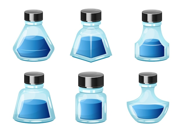 Tintenflaschendesignillustration lokalisiert auf weißem hintergrund isolated