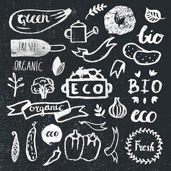 Tintenlogos gesetzt. abzeichen, etiketten blätter, bänder, pflanzenelemente lorbeer. bio, bioökologie öko natürliche vorlage. handzeichnung malerei. vintage, schwarz und weiß