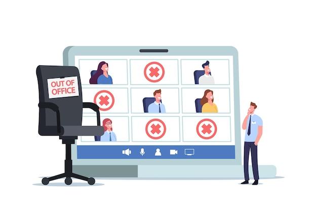 Tiny company boss character stand am riesigen laptop mit mitarbeitern aus dem büro und leerem sessel. abwesenheitsarbeitsmanagement, krankheitsurlaub oder abwesenheitskonzept. cartoon-menschen-vektor-illustration