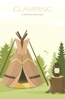 Tipi im sioux-stil der amerikanischen ureinwohner. gartenzelt oder zum reisen.