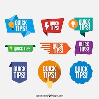 Tipps abzeichen sammlung in flachen stil