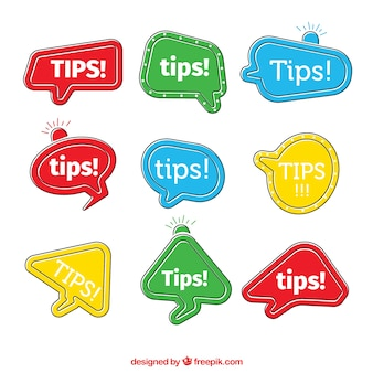 Tipps etiketten sammlung in farben