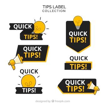 Tipps etiketten sammlung in flachen stil