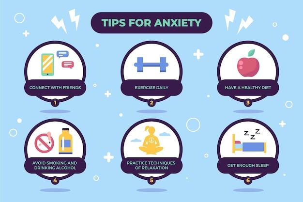 Tipps für angstzustände und diagramme für einen gesunden lebensstil
