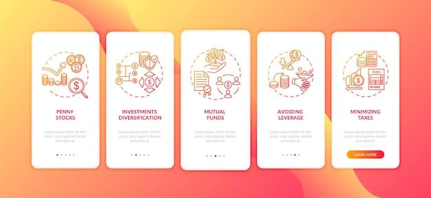 Tipps für unternehmensinvestitionen onboarding des bildschirms der mobilen app-seite mit konzepten