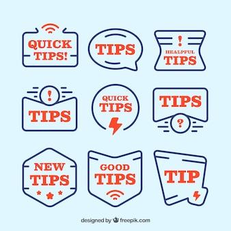 Tipps-label-sammlung mit flachem design