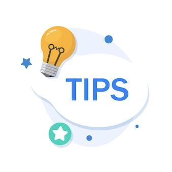 Tipps-symbolhilfreiche tricks mit nützlichen informationen für website oder blog-beitrag