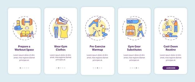 Tipps zum heimtraining onboarding des bildschirms der mobilen app-seite mit konzepten. fitnessraum, sportkleidung, aufwärmlösung 5 schritte ui-vorlage mit rgb-farbabbildungen