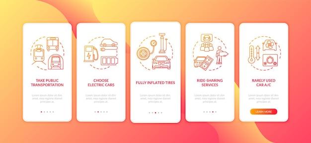 Tipps zum kraftstoffsparen beim onboarding des seitenbildschirms der mobilen app mit konzepten. umweltfreundliche und preisgünstige reise-anleitung in fünf schritten mit grafischen anweisungen. ui-vektorvorlage mit rgb-farbabbildungen