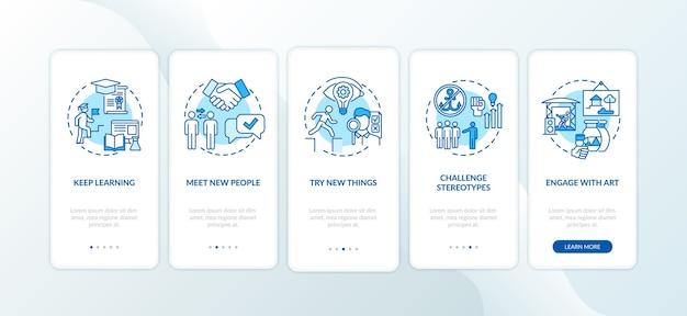 Tipps zum kreativen denken auf dem bildschirm der mobilen app-seite mit konzepten
