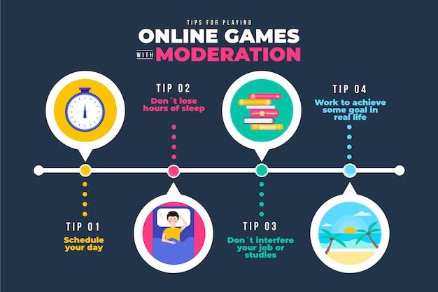 Tipps zum spielen von online-spielen mit moderations-infografik-vorlage