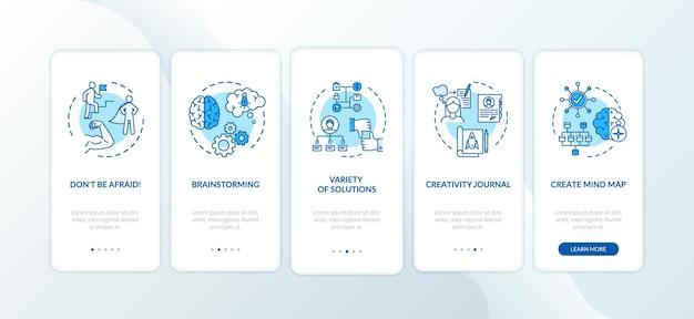 Tipps zur projektentwicklung beim onboarding des seitenbildschirms der mobilen app mit konzepten. effektive anleitung für führung in 5 schritten mit grafischen anweisungen. ui-vektorvorlage mit rgb-farbabbildungen