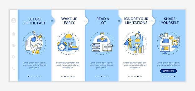 Tipps zur selbstentwicklung beim onboarding der vektorvorlage. responsive mobile website mit symbolen. webseiten-walkthrough-bildschirme in 5 schritten. farbkonzept zur persönlichen verbesserung mit linearen illustrationen