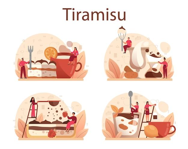 Tiramisu dessert set. leute, die köstlichen italienischen kuchen kochen. süßes stück restaurantbäckerei. isoliert