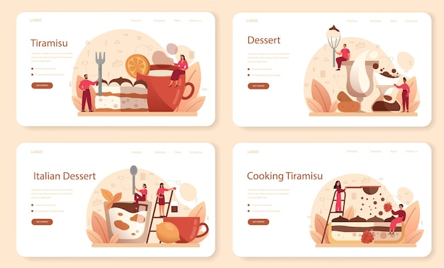 Tiramisu dessert web banner oder landing page set.