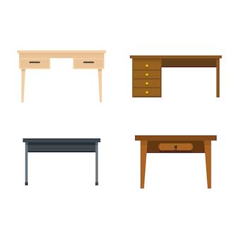 Tisch-icon-set. flacher satz der tabellenvektor-ikonensammlung lokalisiert