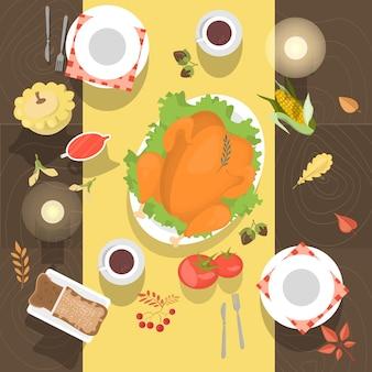 Tisch mit der draufsicht von huhn oder truthahn und brot. mahlzeit auf dem holztisch. weißes geschirr und kaffeetassen. illustration im cartoon-stil.