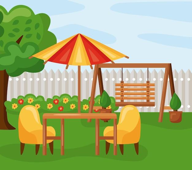 Tisch mit sonnenschirmstühlen und schaukel auf gartenlandschaft
