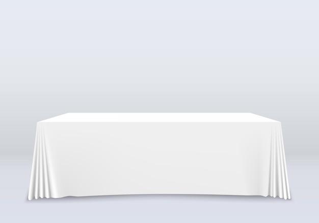 Tisch mit tischdecken-kunstfahne. vektor-illustration