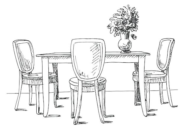 Tisch und stühle. auf der tischvase mit blumen. vektor-illustration. handgemalt.