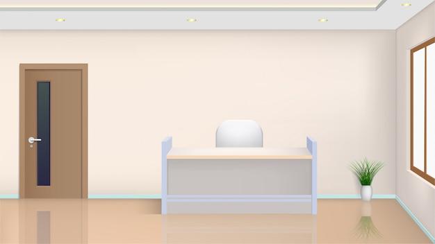 Tisch und stuhl im büroraum