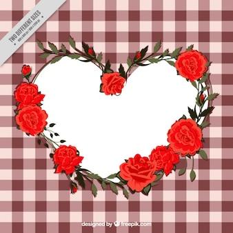 Tischdecke hintergrund mit dekorativen rosen herz