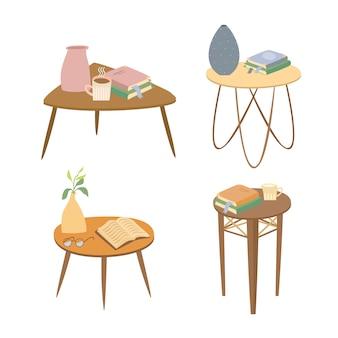 Tische mit gedeckten büchern