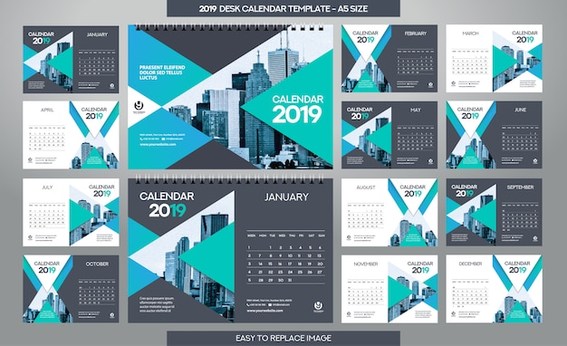 Tischkalender 2019 vorlage - 12 monate inklusive