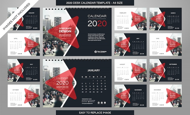 Tischkalender 2020 vorlage inklusive aller monate