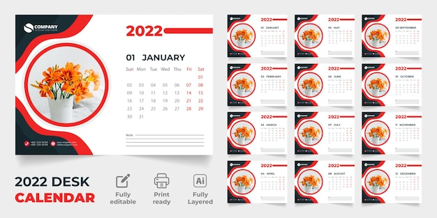 Tischkalender 2022 premium-vektorvorlagendesign